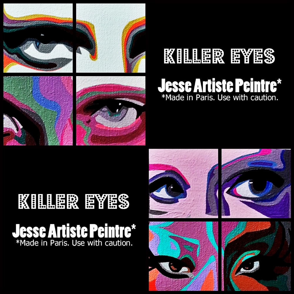 killer, eyes, collage, artist, paris