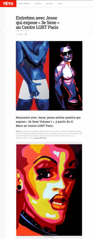 3e sexe, paris, drag queen, exhibition, homo sex piens, lgbt, lgbt paris, têtu, interview, jesse artiste peintre