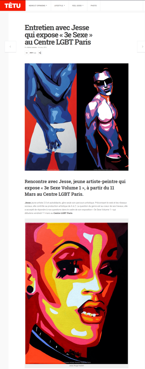 3e sexe, paris, drag queen, exhibition, homo sex piens, lgbt, lgbt paris, têtu, interview, jesse artiste peintre