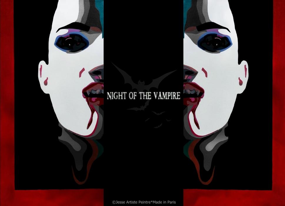 vampire, red, vampire art, jesse artiste