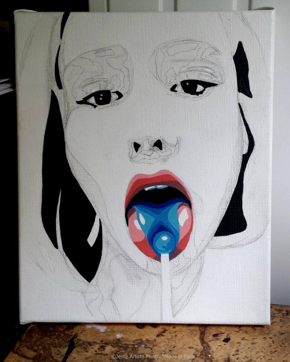 lollipop, wip, teen spirit, lily rose depp, painting, art, sexy, artiste peintre paris