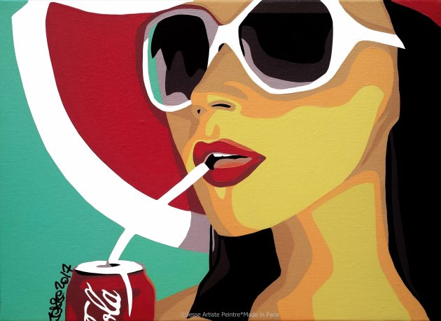 commission work, coca cola, artwork, made in paris, sunglasses, glamorous, sexy