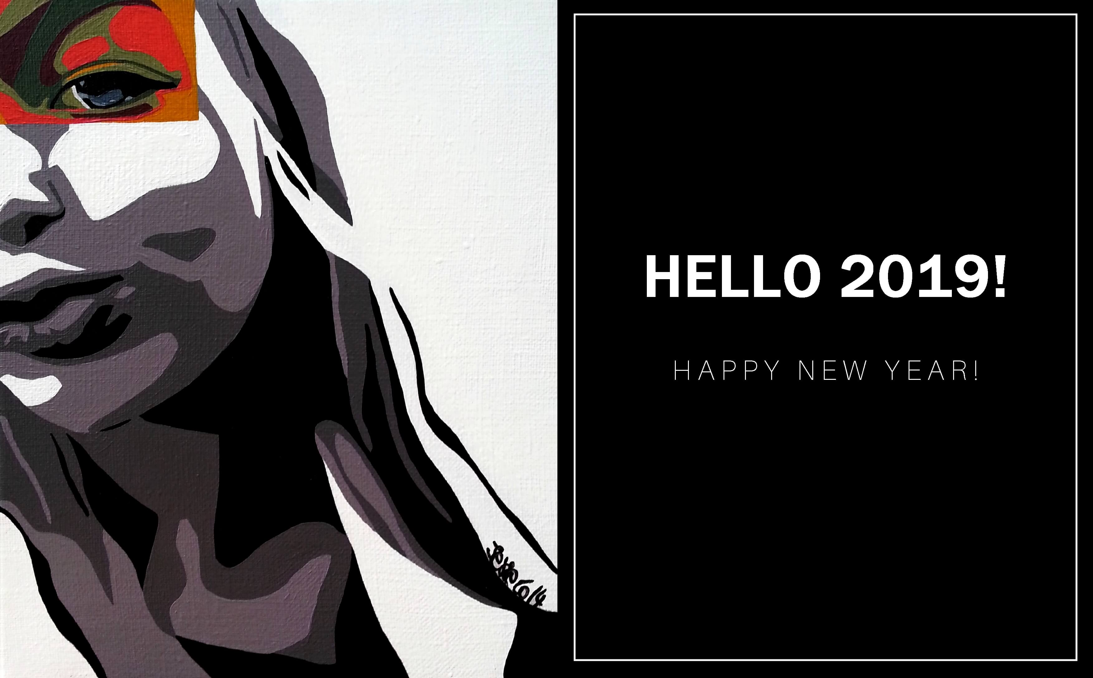 happy new year, new year card, bonne année, 2019, artist life, artiste peintre