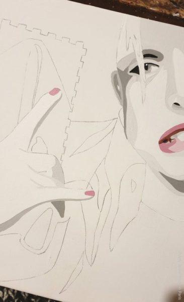 wip, commission work, painting, woman's portrait, parisian style, parisian artist