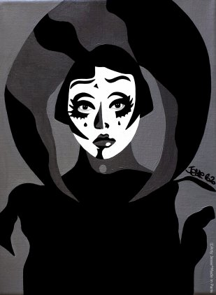 clown triste, sad clown, kim chi, rpdr, drag queen painting