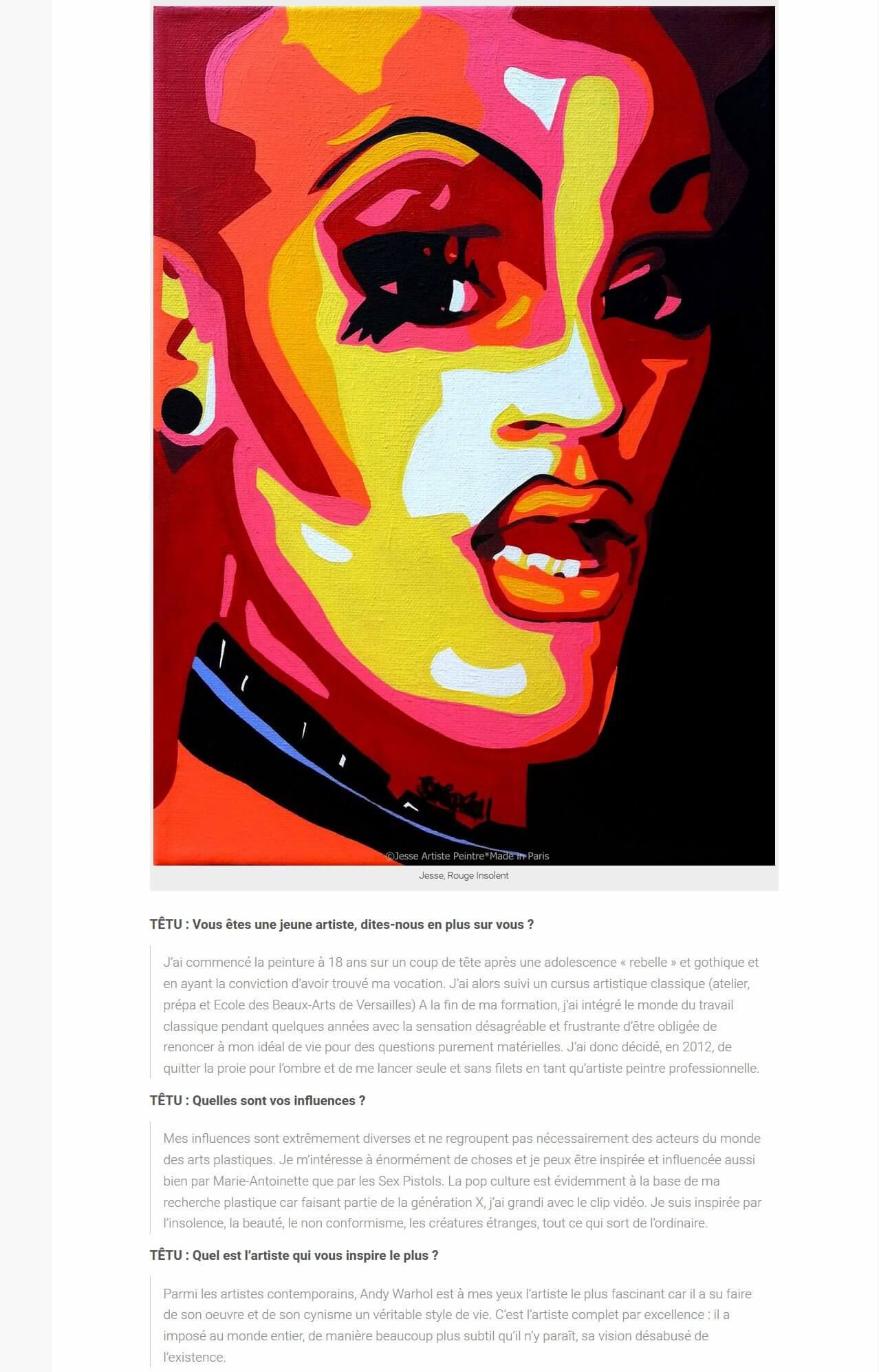 artiste peintre paris, exposition, têtu mag