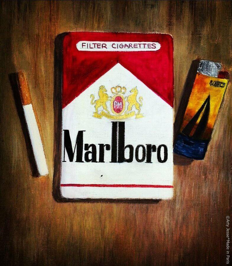 artiste peintre paris, smoker painting, smoker art, marlboro painting