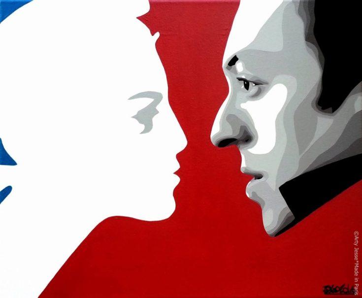 artiste peintre paris, pop art paris, gainsbourg painting, marianne peinture, bleu blanc rouge peinture