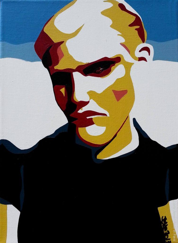 artiste peintre paris, pop art paris, androgynous painting, blond painting