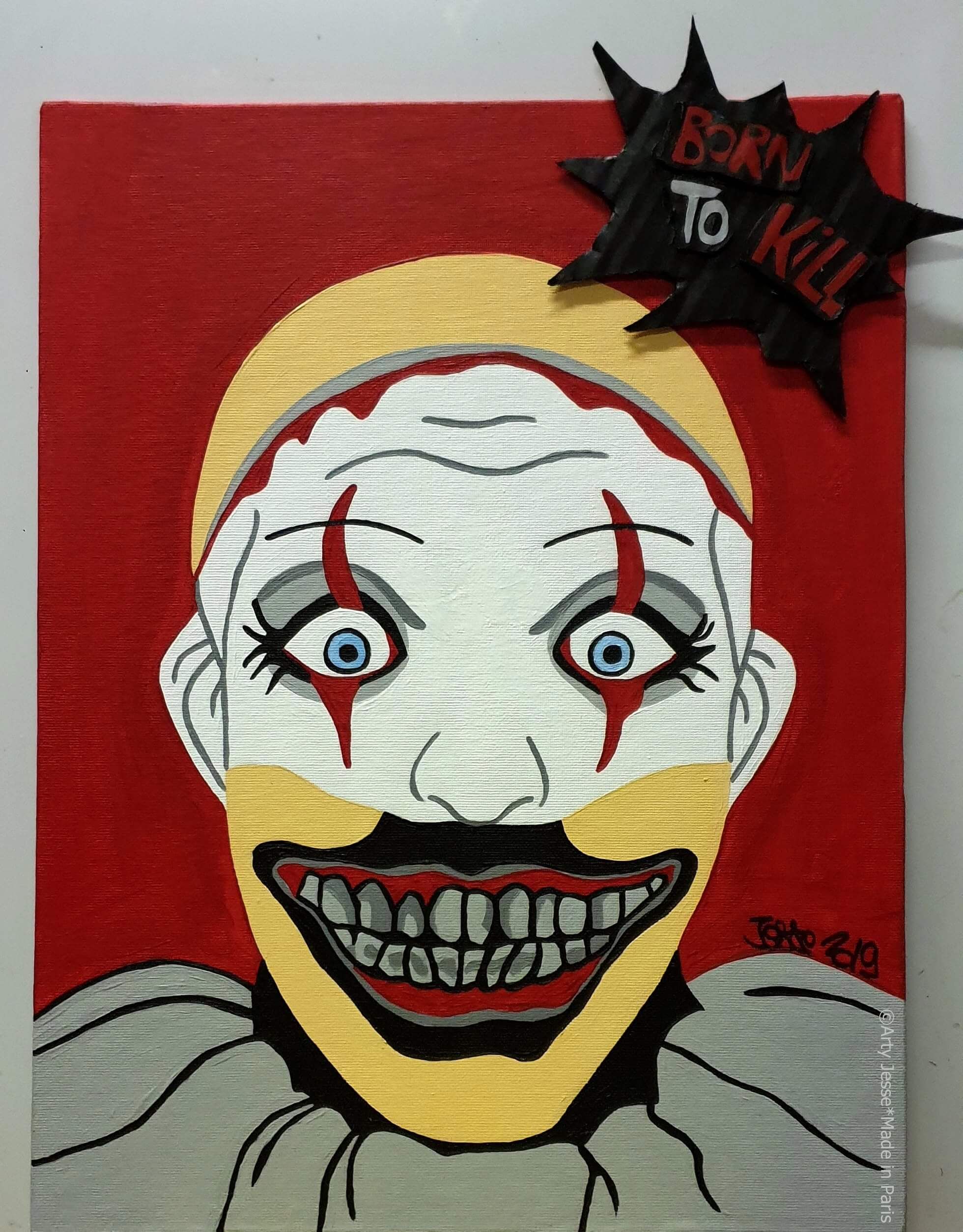 artiste peintre paris, circus art, clown, killer clown, clown tueur art