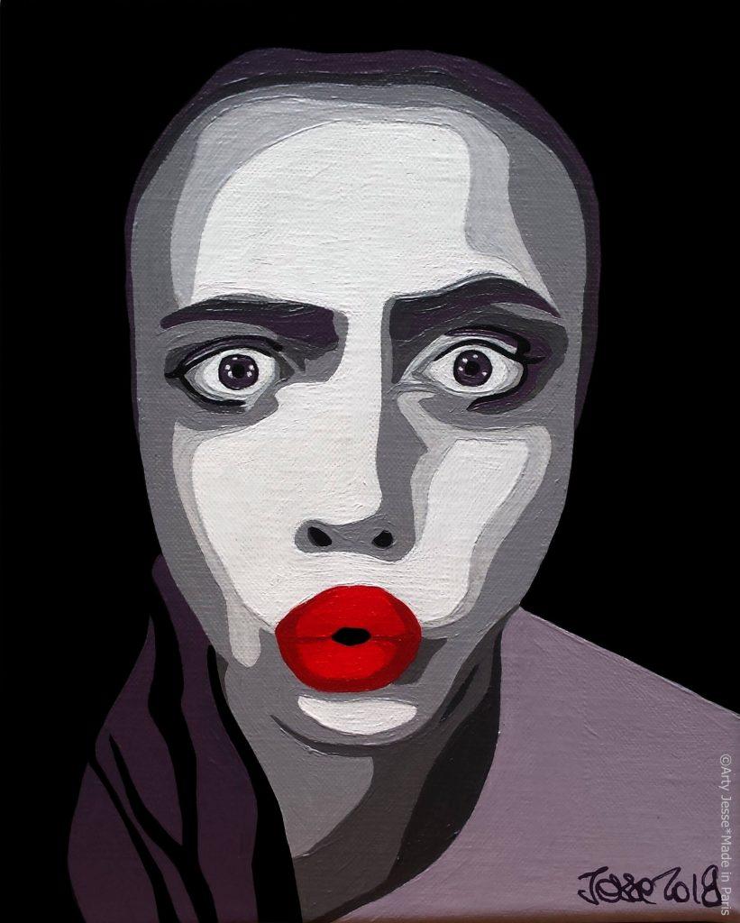 artiste peintre paris, pop art paris, cara delevigne painting, model painting, red lips painting