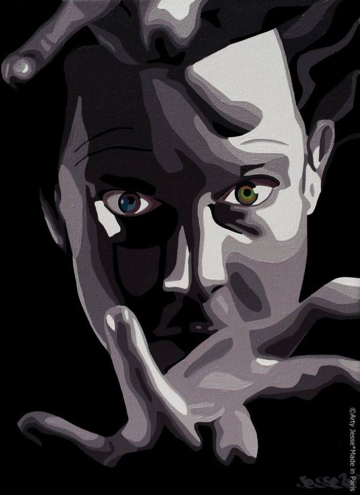 artiste peintre paris, commision work, artist djef baker, magician painting