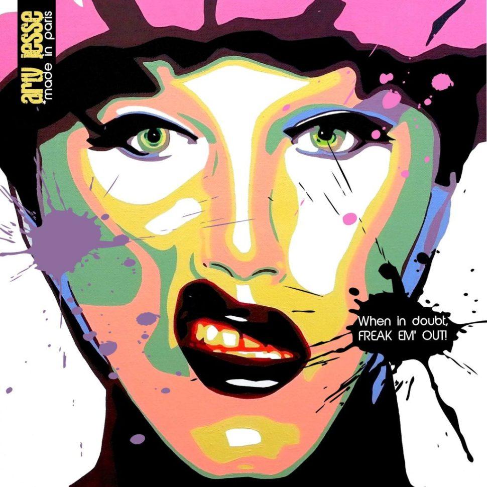 artiste peintre paris, reproduction, xmas gift, sharon needles painting, drag queen painting