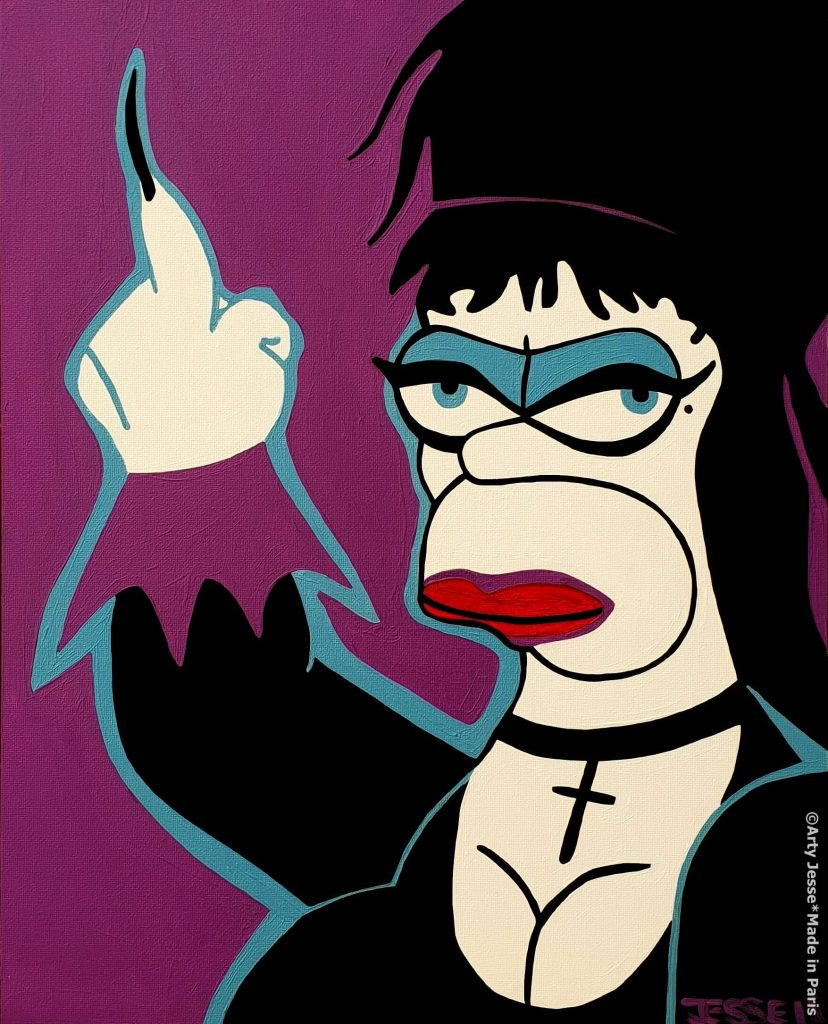 elvira painting, artiste peintre paris, pop art, homer simpson painting