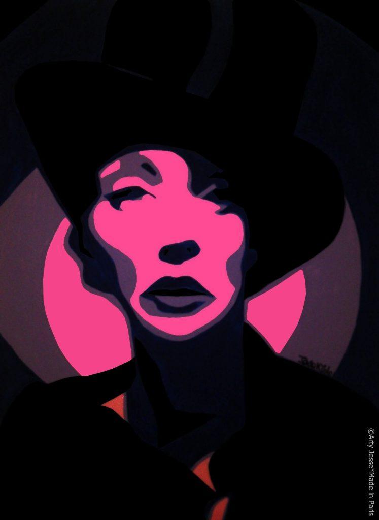 artiste peintre paris, pop art paris, woman with a hat painting