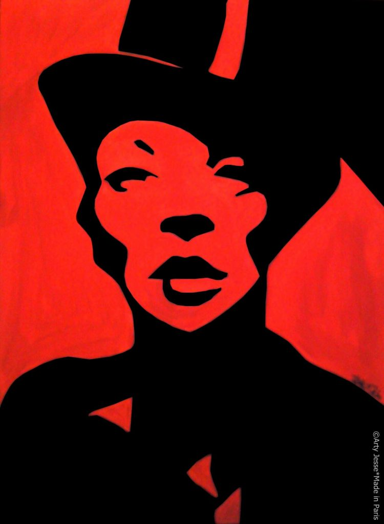 artiste peintre paris, pop art paris, androgynous with a hat painting