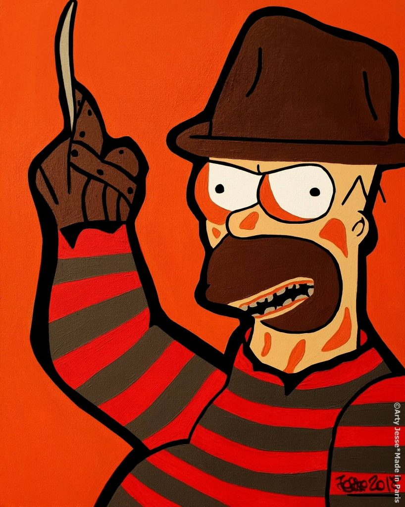 freddy krueger painting, artiste peintre paris, pop art, homer simpson painting