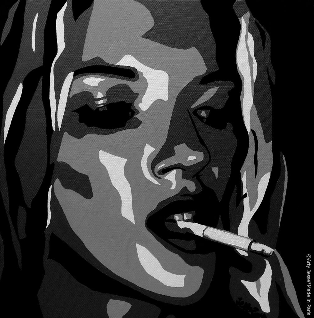 artiste peintre paris, smoker painting, smoker art, kate moss painting
