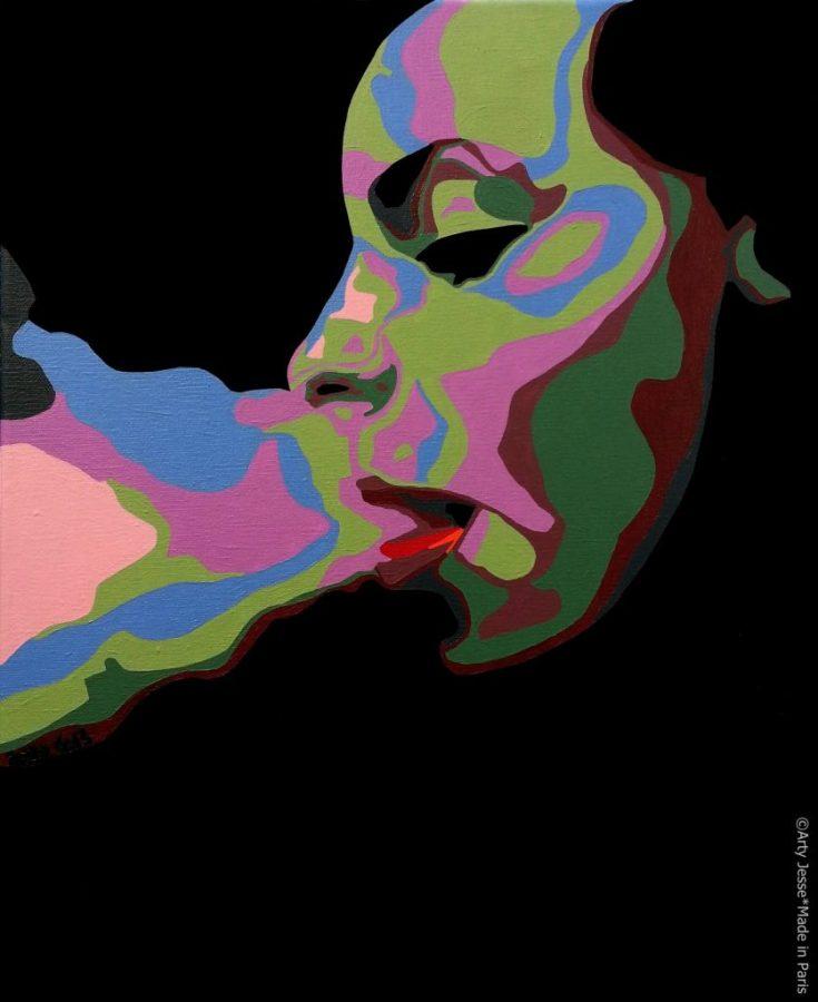 artiste peintre paris, smoker painting, smoker art