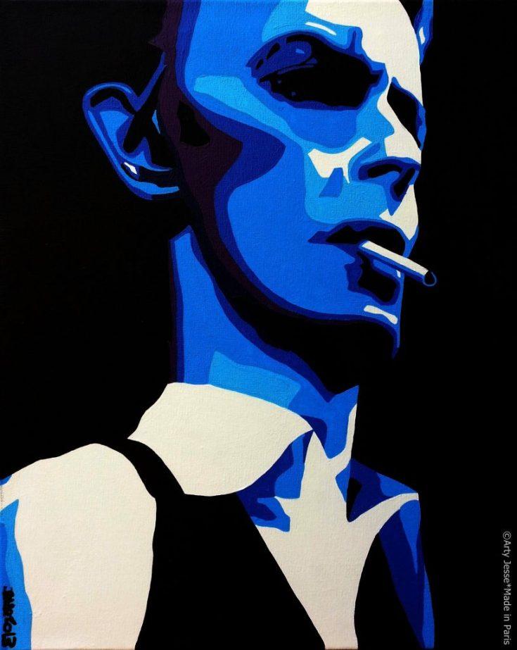 artiste peintre paris, smoker painting, smoker art, david bowie painting