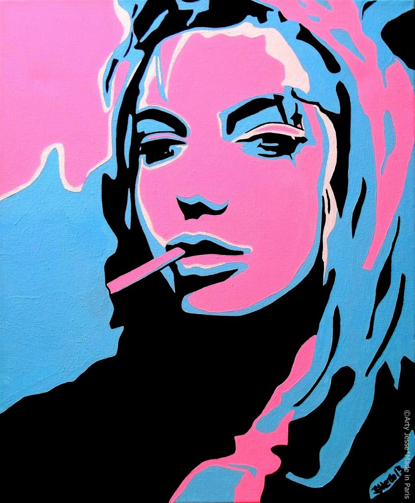 artiste peintre paris, smoker painting, smoker art, angelina jolie painting