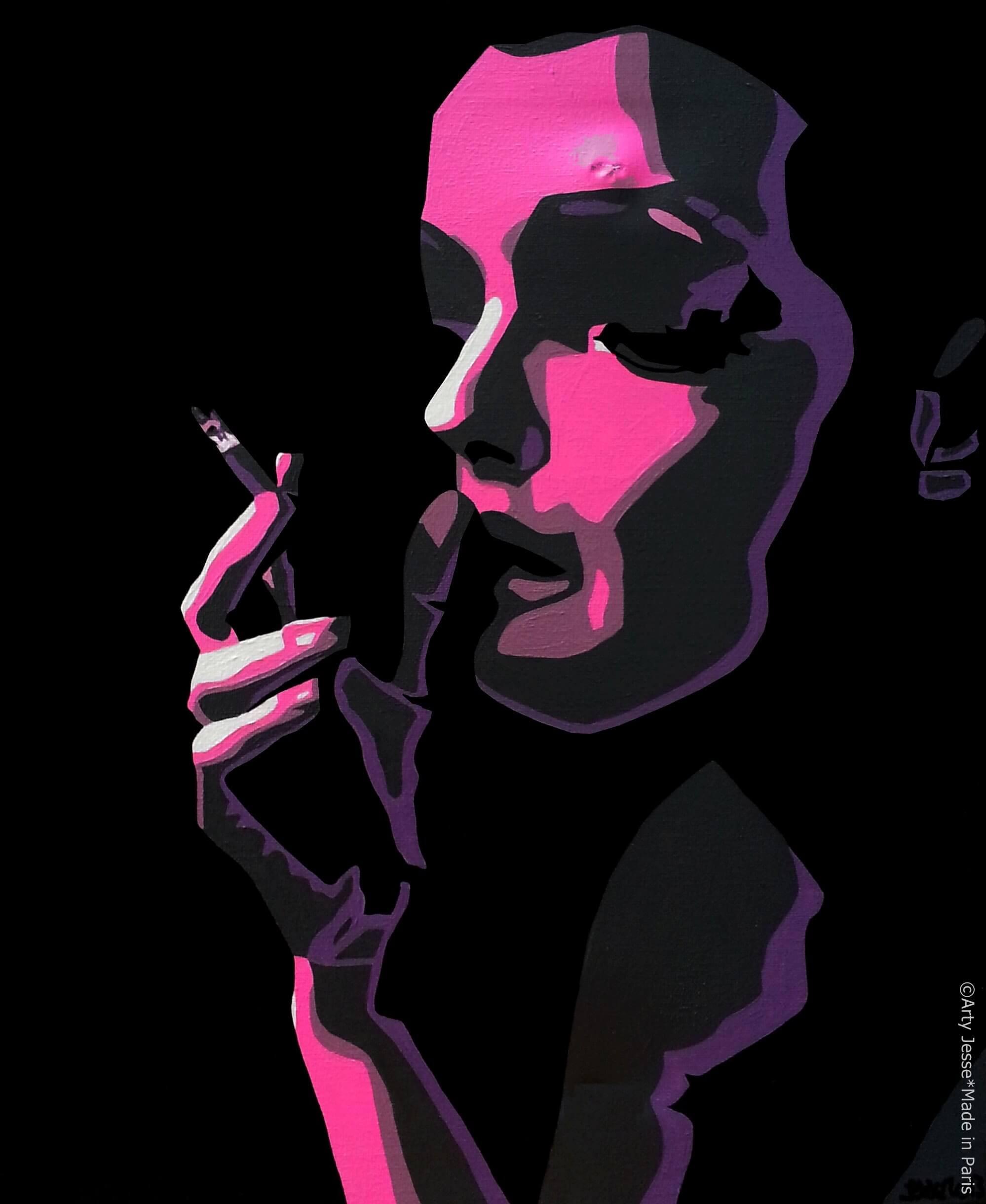 artiste peintre paris, smoker painting, smoker art, romy schneider painting