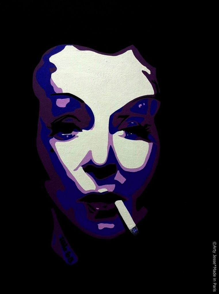 artiste peintre paris, smoker painting, smoker art, marlene dietrich painting