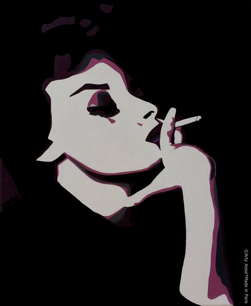 artiste peintre paris, smoker painting, smoker art, sophia loren painting
