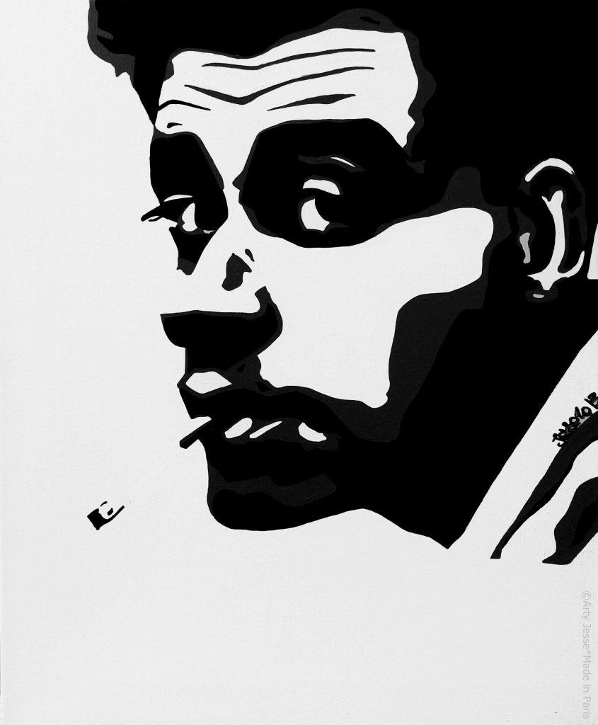 artiste peintre paris, smoker painting, smoker art, 1950s style art