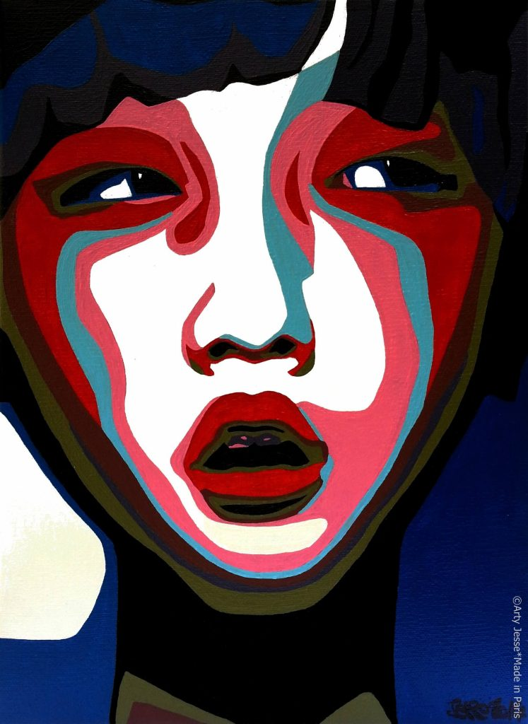 artiste peintre paris, pop art, girly art, asian girl painting