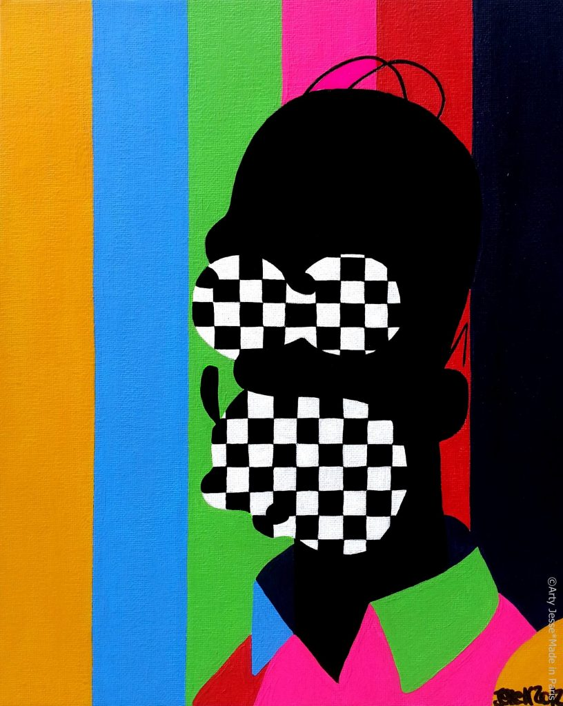 artiste peintre paris, homer simpson painting, homer simpson art, pop art paris