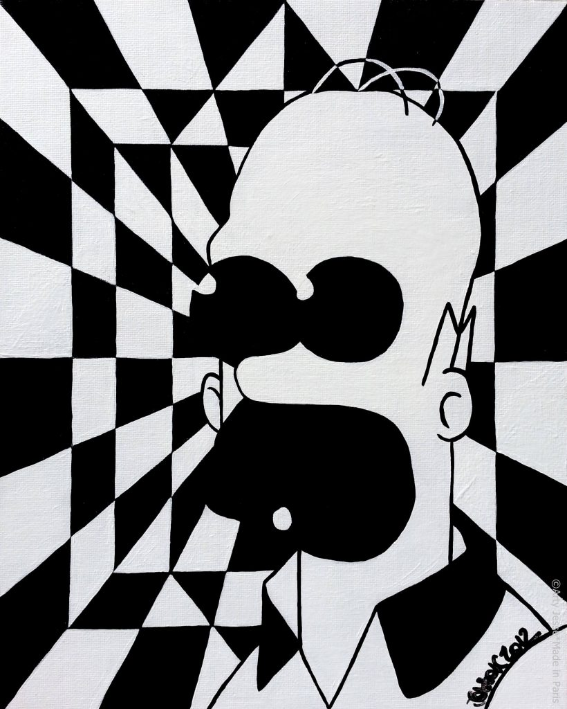 artiste peintre paris, homer simpson painting, homer simpson art, pop art paris