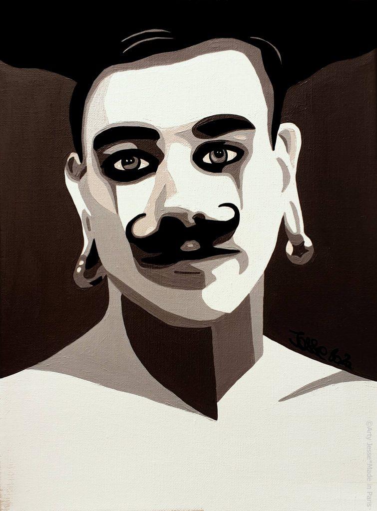 artiste peintre paris, circus art, strong man art, moustache painting
