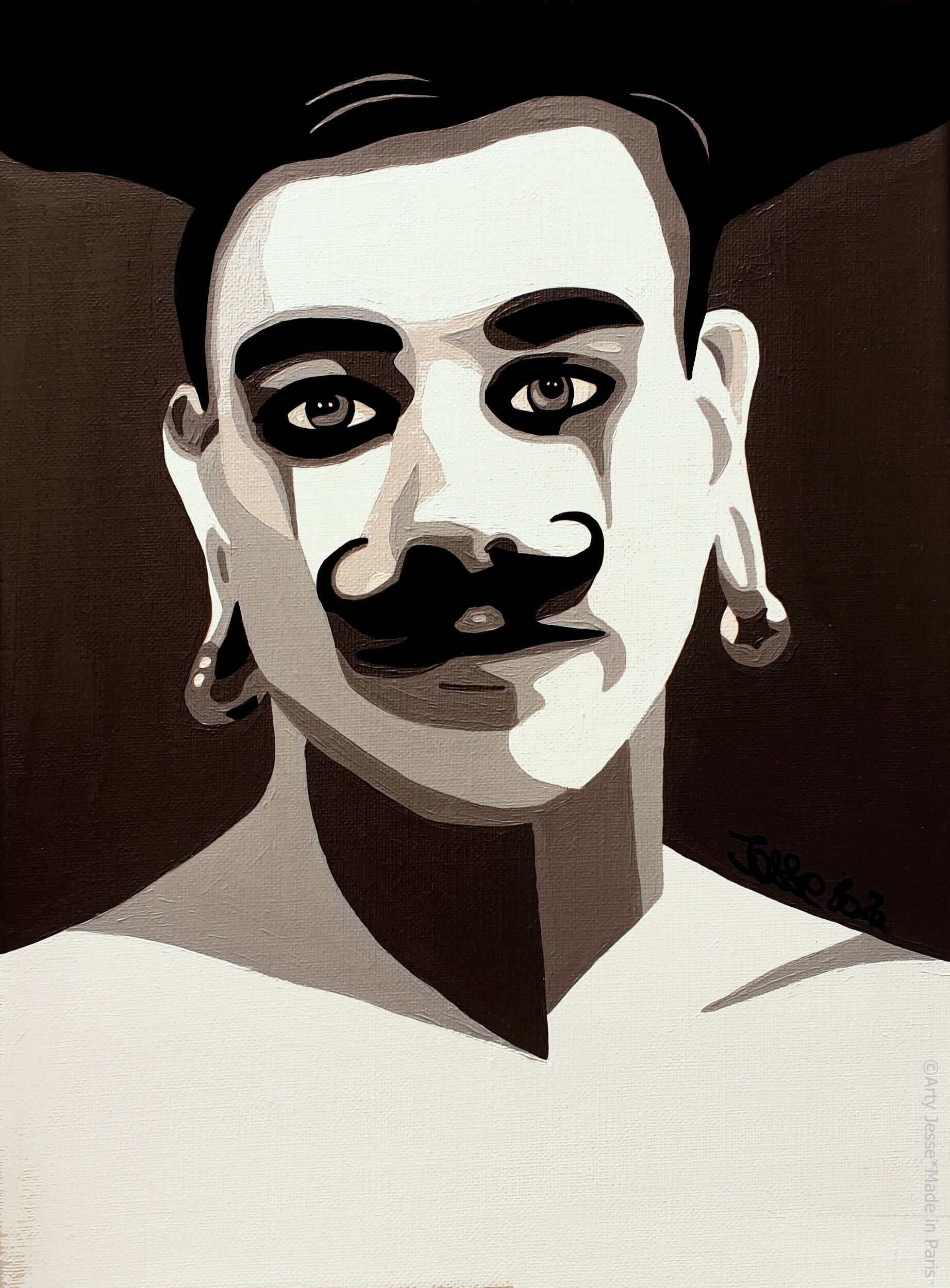 artiste peintre paris, circus art, strong man art, moustache painting