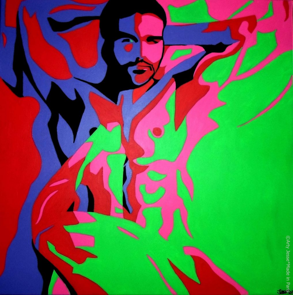 artiste peintre paris, pop art paris, homo sex piens, gay art, gay man portrait
