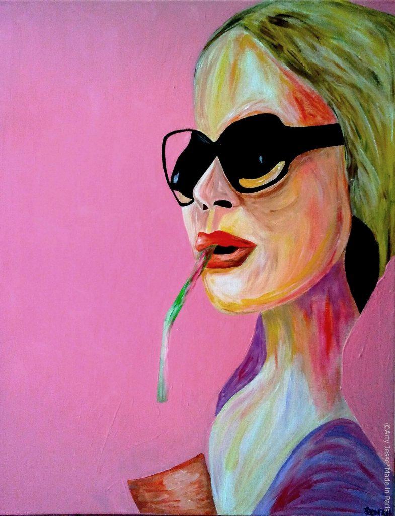 artiste peintre paris, pop art paris, blonde painting, sunglasses painting