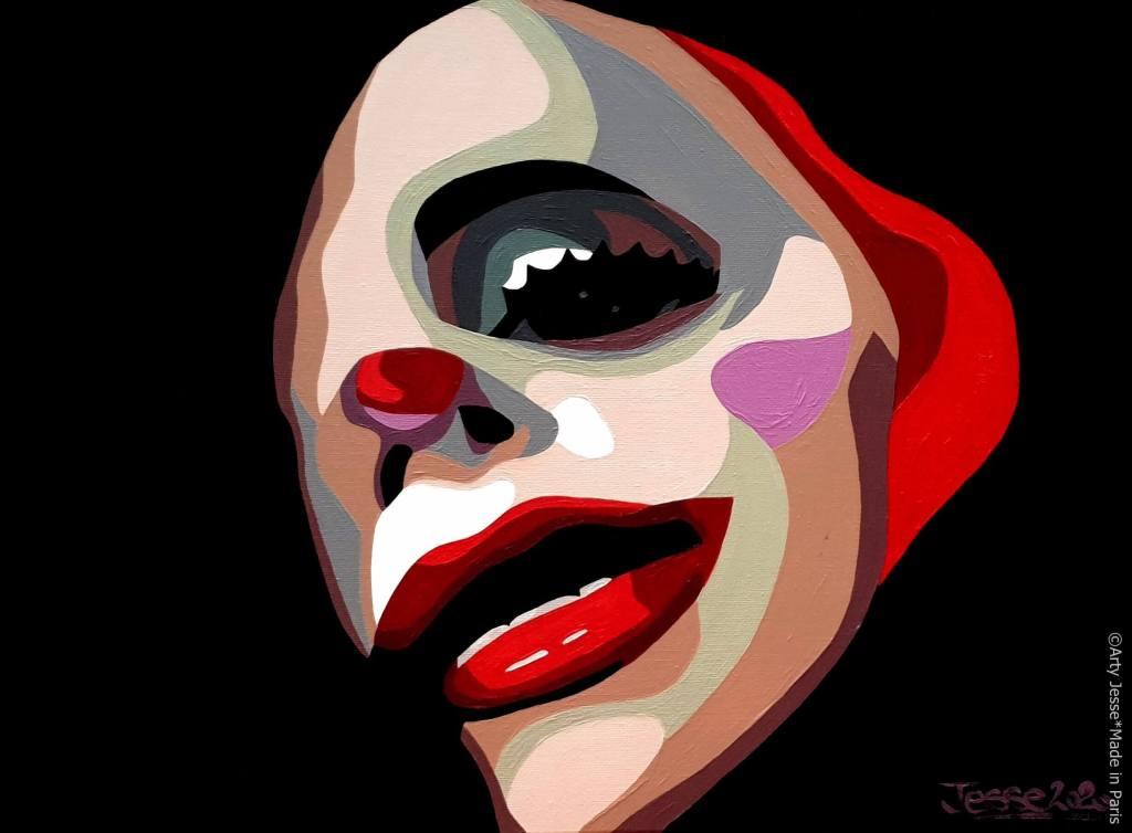 artiste peintre paris, circus art, clown art, clown painting