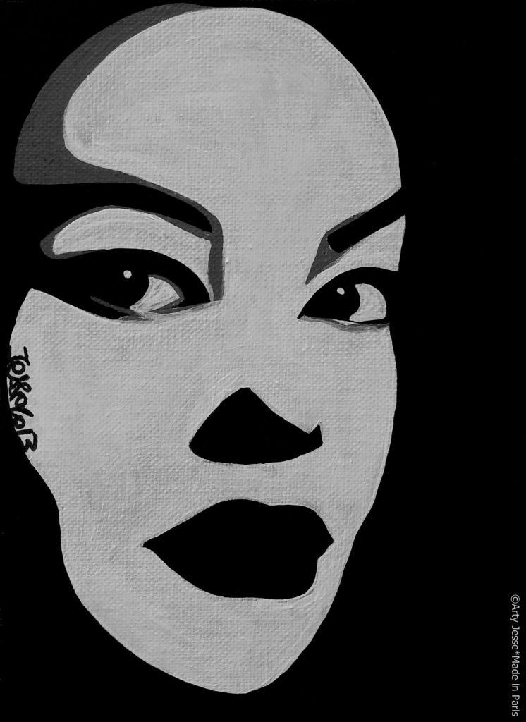 artiste peintre paris, pop art paris, mask painting, japonese girl painting