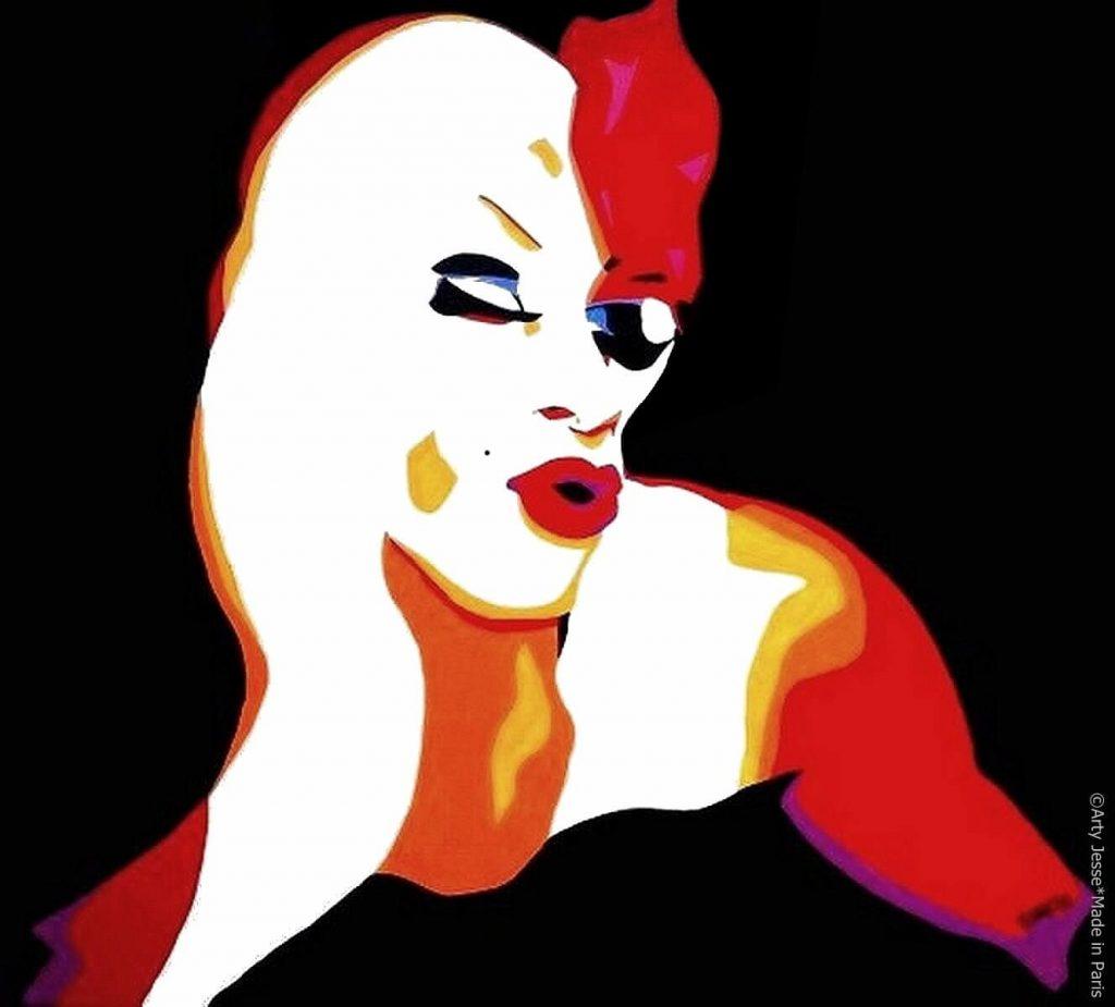 artiste peintre paris, pop art paris, homo sex piens, gay art, drag queen painting