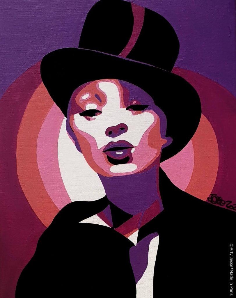 artiste peintre paris ,circus art, kate moss painting, marlene dietrich painting