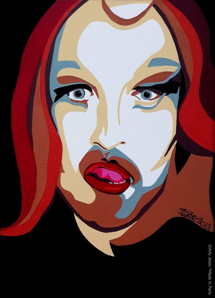 artiste peintre paris, pop art paris, nikky paris, drag queen portrait