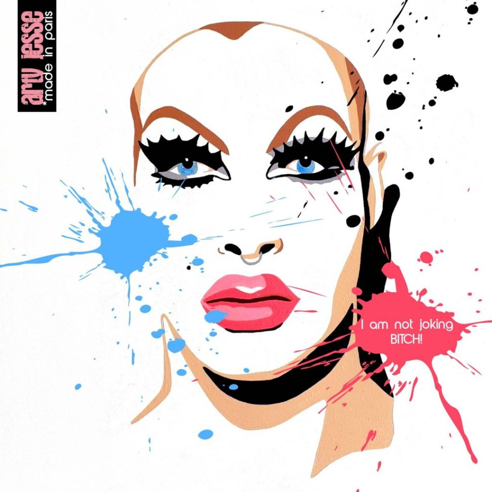 artiste peintre paris, reproduction, xmas gift, pearl liaison painting, drag queen painting