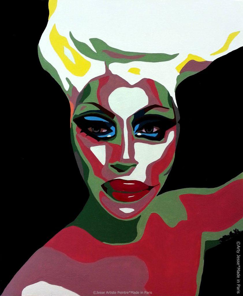 artiste peintre paris, drag queen, drag art, raven