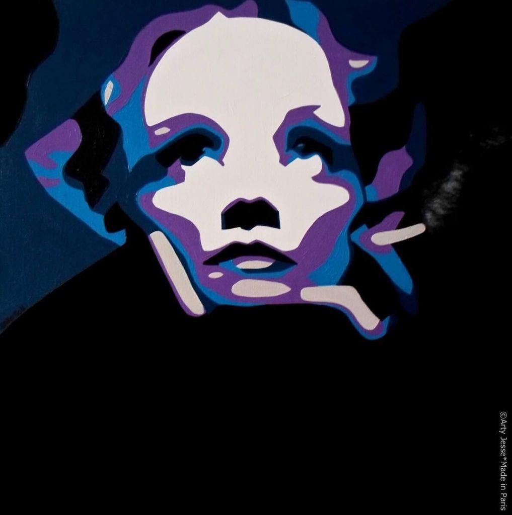 artiste peintre paris, pop art paris, marlene dietrich painting