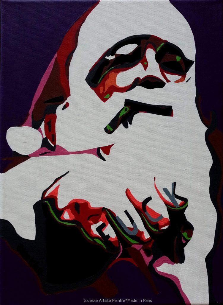 artiste peintre paris, pop art paris, red painting, santa claus painting