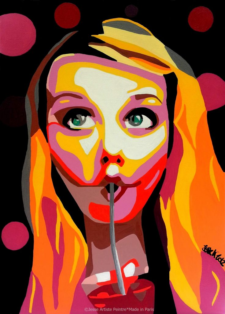 artiste peintre paris, pop art paris, red painting, bloody mary painting, blonde art