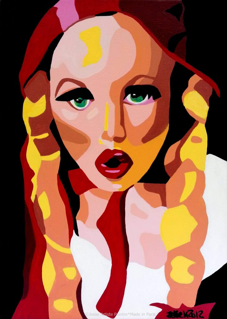 artiste peintre paris, pop art paris, red painting, red riding hood painting