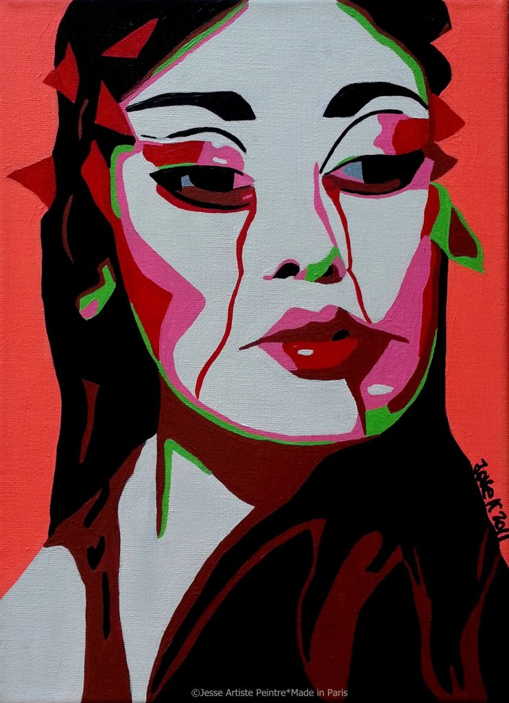 artiste peintre paris, pop art paris, red painting, geisha painting