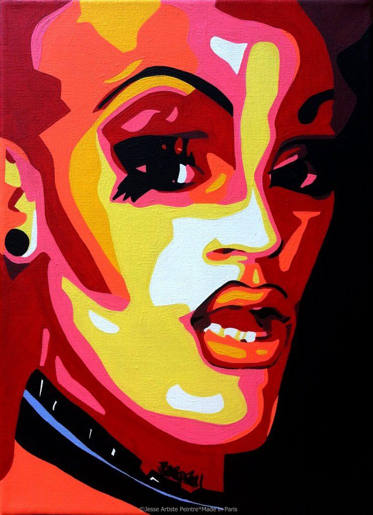 artiste peintre paris, pop art paris, red painting, drag queen painting, drag art