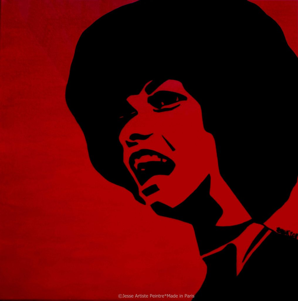 artiste peintre paris, pop art paris, red painting, angela davis painting, black live matter art